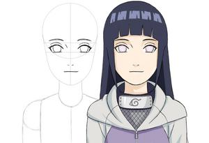 Como dibujar a Hinata Hyuga (Shippuden) paso a paso