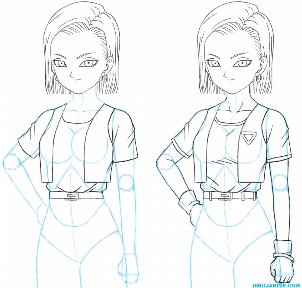 Como dibujar a Numero 18 (Androide de DBZ) – Paso a paso – Dibujanime!
